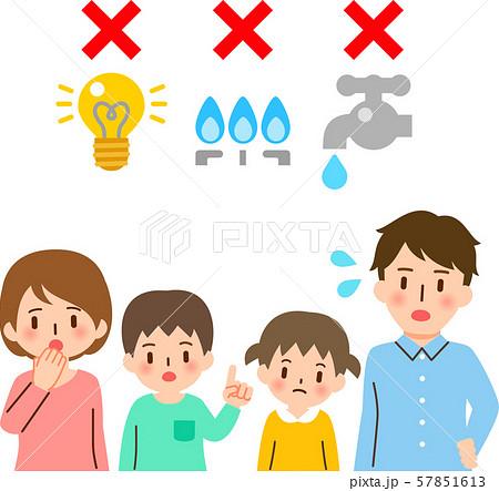 電気、ガス、水道の停止について話し合う家族 57851613