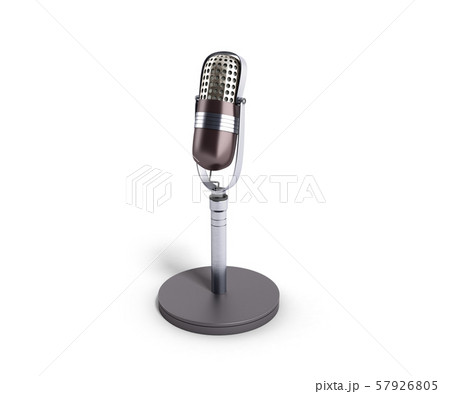 Vintage silver microphone isolated on white 57926805
