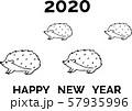 年賀状2020ハリネズミ ブラックライン 57935996