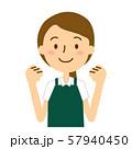 エプロンポロシャツの女性ロングヘア緑色白色 57940450
