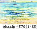 Watercolor painting seascape of fishing boat 57941485