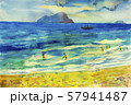 Watercolor seascape painting of family holiday. 57941487