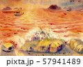 Abstract seascape watercolor original painting. 57941489