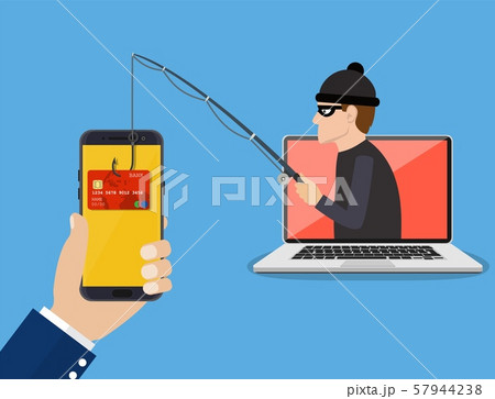 Internet phishing and hacking attack concept. 57944238