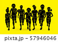 Group of Children running together cartoon graphic vector 57946046