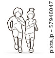Boy and Girl running together, Children running cartoon graphic vector 57946047