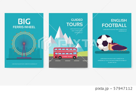 Set of England country ornament travel tour concept. London traditional, magazine, book, poster 57947112
