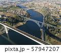 Aerial of bridges and Douro river in Porto 57947207