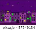 City at night vector illustration. Old street in european city. 57949134