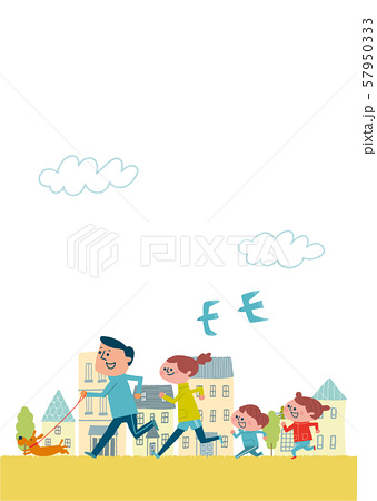 街の中をジョギングすファミリー 57950333