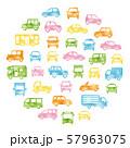 色々な車のサークル状アイコンギャラリー(水彩風シルエット) 57963075