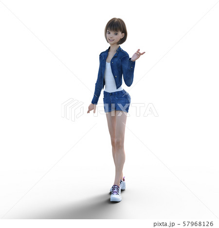 デニムファッションの若い女性 perming3DCGイラスト素材 57968126