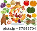 秋の味覚:水彩 秋 秋の味覚 果物 秋刀魚 魚 葡萄 りんご 柿 かぼちゃ 梨 紅葉 栗 熊 57969704