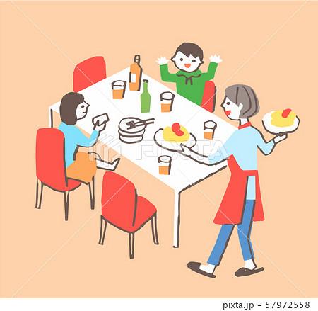 ダイニングテーブルと家族 57972558