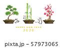 年賀状 盆栽とネズミ 松竹梅 57973065