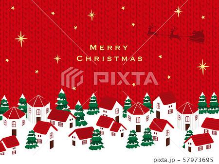 サンタクロースとクリスマスの町並み  ニットテクスチャー 57973695