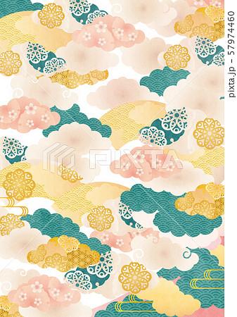 背景素材-桜と雲柄お-3テク 57974460