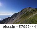 白馬岳から白馬鑓ヶ岳への登山道(白馬連峰、長野県北安曇) 57992444