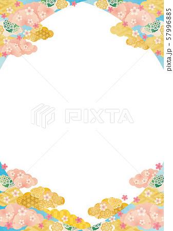 背景素材-桜と雲柄く-1テク 57996885