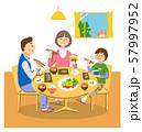 笑顔で朝食をとる3人家族 背景あり 57997952