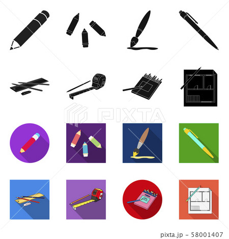 Vector illustration of pencil and sharpen symbol. Set of pencil and color stock vector illustration. 58001407