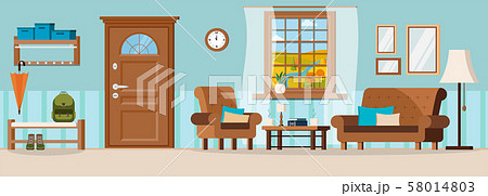 Flat cartoon style vector illustration cozy hallway with furniture, closed door, window view of 58014803