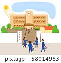 学校 登校する生徒 58014983