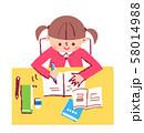 勉強する女の子 58014988