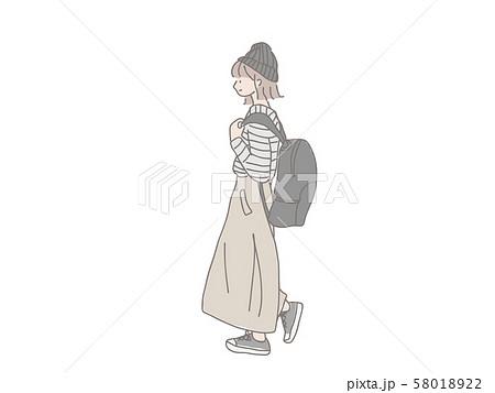 通学するオシャレな女の子 横顔 ニット帽のイラスト素材