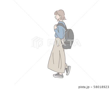 通学するオシャレな女の子 横顔のイラスト素材 58018923 Pixta