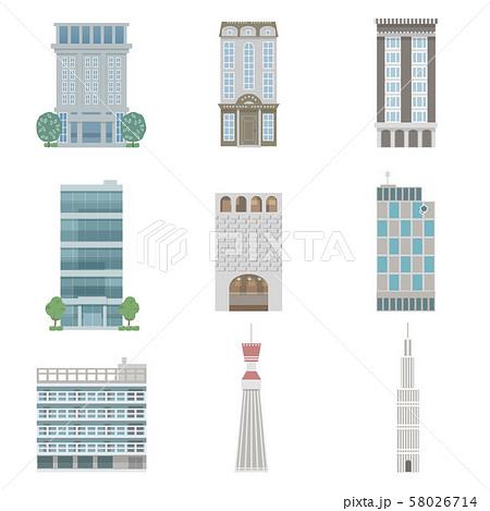 オフィスビル、店、マンション、アパート、タワー イラスト 詰め合わせ 58026714