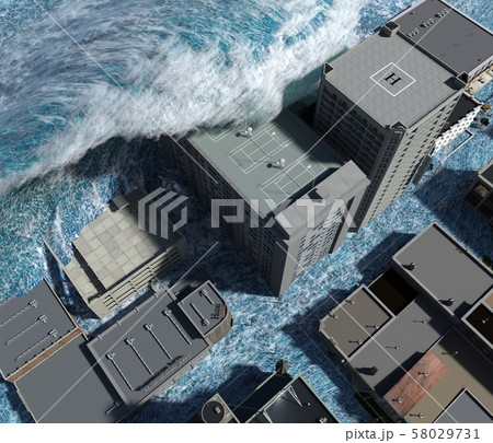 Tsunami wave apocalyptic water view urban flood Storm. 3D illustration 58029731