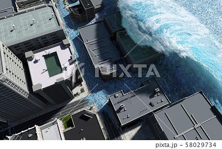 Tsunami wave apocalyptic water view urban flood Storm. 3D illustration 58029734