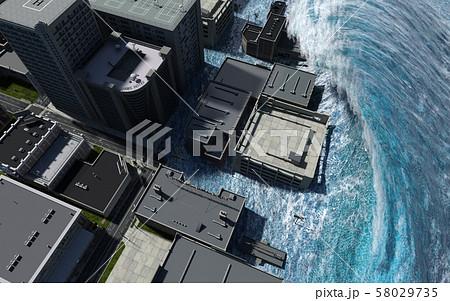 Tsunami wave apocalyptic water view urban flood Storm. 3D illustration 58029735