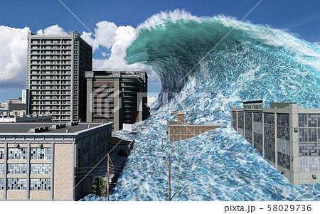 Tsunami wave apocalyptic water view urban flood Storm. 3D illustration 58029736