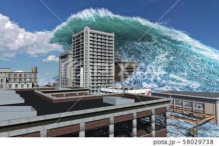 Tsunami wave apocalyptic water view urban flood Storm. 3D illustration 58029738
