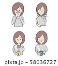 風邪の女性のイラストセット 58036727