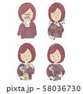風邪の女性のイラストセット 58036730