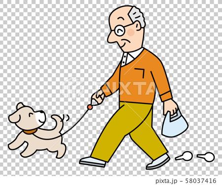 愛犬と散歩する高齢者 58037416