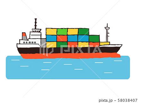 海上の貨物船 58038407