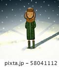 雪の日に冬服で会いに来る犬さんのイラスト 58041112