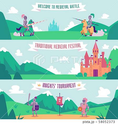 Knight tournament banner set - medieval battle festival poster 58052373