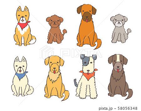 いろいろな種類の犬8匹 セット 58056348