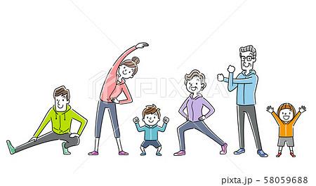 イラスト素材:運動、スポーツ、体操をする家族、人々 58059688