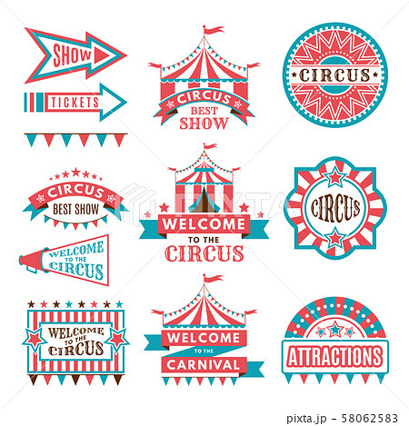 Labels in retro style. Logos for circus entertainment 58062583