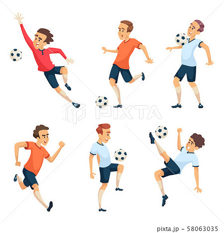 Soccer characters playing football. Isolated sport mascots isolate on white 58063035