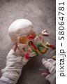 Halloween background with mummy hand 58064781
