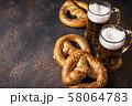 Beer and pretzels. Oktoberfest concept 58064783