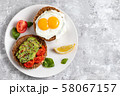 Avicado toast. Egg sandwich appetizer. Top view 58067157