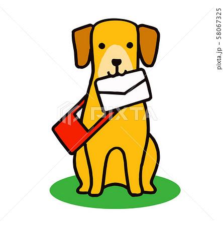 手紙を咥える犬 58067325